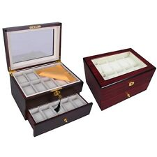 20 Watch Display Case Cherry / Ebony Wood Men Glass Top Storage Box W/ Cushion