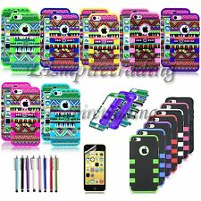 Colorful Heavy Duty Hybrid Rugged Hard Case Cover For iPhone 5C C + Film + Pen