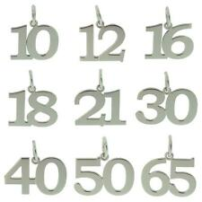 925 STERLING SILVER BIRTHDAY NUMBER AGE CHARM PENDANT GIFT 10-70 CHAIN OPTIONS