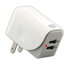 White 3.1 Amp Dual USB Port Rapid Home Wall Charger Adapter For Cell Phones