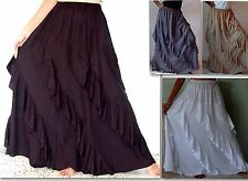 @A647 LONG MAXI SKIRT DIAGONAL RUFFLE LAGENLOOK RAYON MADE 2 ORDER LOTUSTRADERS