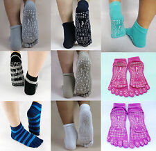 1Pair 10 Colors Lady's Cotton 5-Toe Exercise Yoga Slip Toe Socks With Full Grips