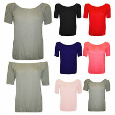 New Ladies Womens Short Sleeve Gypsy Plain Elasticated Neckline T-Shirt Top 8-14