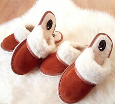 Brown  Sheep Suede Leather Slippers Wool Shoes 3 4 5 6 7 8 flip flop mule