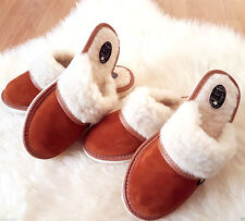 Brown  Sheep Suede Leather Slippers Wool Shoes 3 4 5 6 7 8 flip flop mule gift