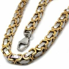 Mens 8mm Gold Silver Tone Byzantine Stainless Steel Box Chain Necklace Bracelet