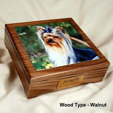 Medium Size Pet Cremation Wood Urn with a Photo Tile Insert