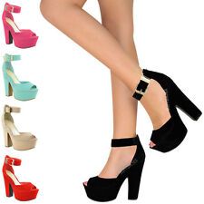 LADIES WOMENS HIGH HEEL SUMMER WEDGES SANDALS CHUNKY PLATFORM OPE TOE SHOES SIZE