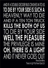 The Smiths There is A Light That Never Goes Out Lyrics Song Gift Word Wall Art
