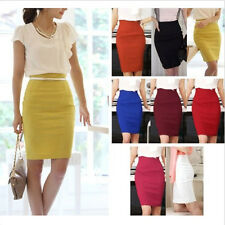 Hot Womens Fitted Business Knee Long Slimming High Waist Office Pencil Skirt