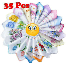 35 Pcs Women Quadrate Floral Handkerchiefs Wedding Party Cotton Fabric Hankies