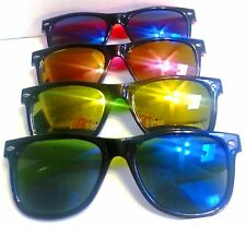 Wayfarer Sunglasses Multi Color Mirrored Lenses Black Frame Colored Arms