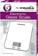 ELECTRONIC KITCHEN SCALES ULTRA SLIM GLASS PLATFORM 5kg DIGITAL SCALE