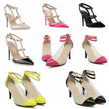 Womens Ankle Strappy Studded Pointy Toe Stiletto Pumps High Heels Sandals Shoes