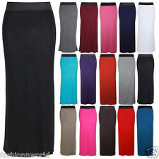 NEW WOMENS CONTRAST ELASTIC WAIST STRAIGHT WOMENS LONG MAXI DRESS SUMMER SKIRTS