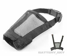 Puppy Dog Mesh Muzzle Anti Barking Biting Chewing Breathable & Adjustable XS-XL