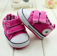 Infant Toddler Baby  rose red Velcro Soft Sole Crib Shoes Sneaker size6-15months