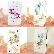 3D bling diamond Folio Support card wallet case Flip leather For Samsung galaxy