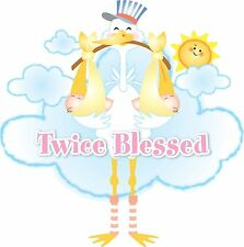 TWICE BLESSED EDIBLE IMAGE CAKE TOPPER! CUPCAKES! COOKIES! FREE SHIPPING! TWINS!