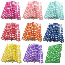 25 PCS Hearts Pattern Paper Drinking Straws For Wedding Birthday Party Colorful