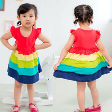 Freeship Colorful Rainbow Ruffle baby girl Summer clothing Cotton baby dress 2-6