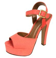Rimose! By Delicious Platform High Heel Ankle Strap Sandal in Salmon Faux Suede