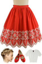 50s Style RED PINUP Sweet HEART High Waist FULL Skirt w/ White Embroidered Trim