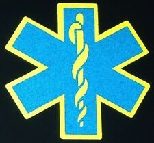 Double Reflective STAR OF LIFE Decal  You Choose Colors   EMS FIRE RESCUE EMT