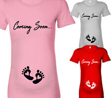 COMING SOON BABY FEET DESIGNER MATERNITY PREGNANT T SHIRT TSHIRT ALL SIZES