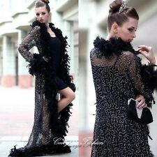 Sexy Ladies Evening Cocktail Party Night Club Lingery Feather Gown Dress 2162