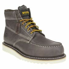 New Mens Wolverine Grey Apprentice Leather Boots Work Lace Up