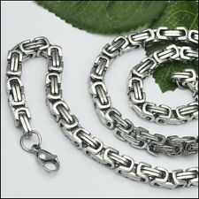8''-40'' Stainless steel 8mm Byzantine Box Link Necklace Bhracelet Men's Jewelry