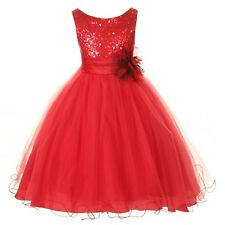 Flower Girls Sequin Glitter Beaded Dress Christmas Summer Graduation Birthday