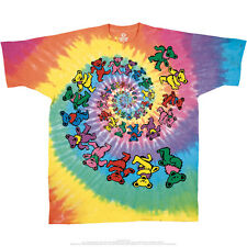 Grateful Dead Spiral Dancing Bears, Tie Dye T Shirt, Rainbow Spiral