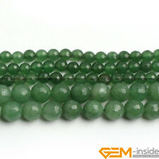 "Green Aventurine Jade Gemstone Faceted Round Beads Strand 15"" 6mm 8mm 10mm 12mm"