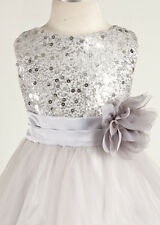 BRIDESMAID WEDDING PARTY PAGEANT FLOWER GIRL DRESS Sequin Glitter Silver Grey