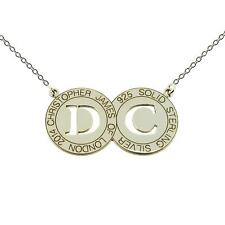 925 STERLING SILVER DOUBLE DISC PERSONALISED ANY INITIALS PENDANT CHAIN NECKLACE