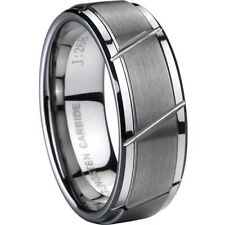 8MM TUNGSTEN Carbide Ring  Brushed Size 7 to 15 Men's Engagement Matching Band