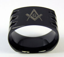 Masonic Ring Black Stainless Steel Men's Grooved Band Mason Freemason