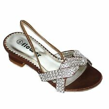 Kids Children Wedding Brown Party Simulated Diamante Nice Sandals Shoes Size UK