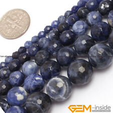 "Natural Sodalite Jasper Faceted Round Beads Strand 15""4mm 6mm 8mm 10mm 12mm 14mm"