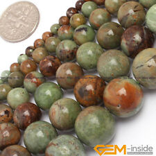 """Natural Green Opal Gemstone Round  Beads For Jewelry Making Strand 15"""" 14mm"""