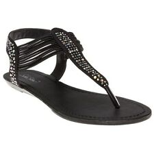 New Womens SOLESISTER Black Belle Synthetic Sandals Flats Elasticated