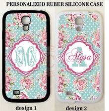 VINTAGE TEAL PINK ROSES FLORAL MONOGRAM RUBBER Case For Samsung Galaxy S7 NOTE 5