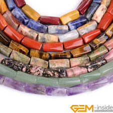 """Natural 9x20mm Assorted Stones Column Twist Beads For Jewelry Making Strand 15"""""""
