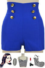 50s Style BLUE Bengaline High-Waist PINUP Shorts with NAUTICAL Button Detailing