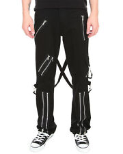 Tripp NYC Bondage Pants Mens Black Zip Strap Goth Punk Skinny Jeans Trousers
