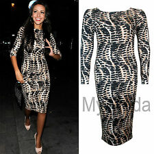 H4A WOMEN'S CELEB STYLE ANIMAL SNAKE SKIN PRINT BODYCON LADIES MIDI DRESS SM ML