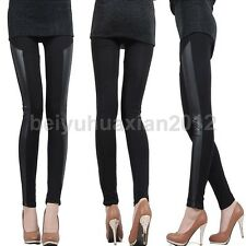Fashion Sexy Women Stitching Stretchy Faux Leather Black Tights Leggings Pants