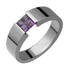 Titanium Flat 5mm Wide Ring W Amethyst Tension Set Wedding Band For Size 4 to 14